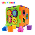 Wishtime Activity Gear Puzzle Baby's First Blocks Shape Sorting Cube  Educational Kids Toys Compatible Duplo Bricks TY9048