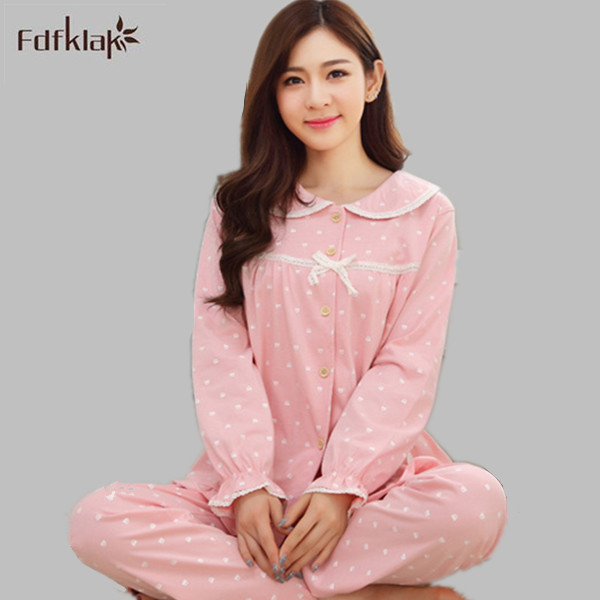 High Grade winter pajamas women autumn long sleeve indoor clothing plus  size cotton pajama set print sleepwear pyjamas M-3XL 6b8398560