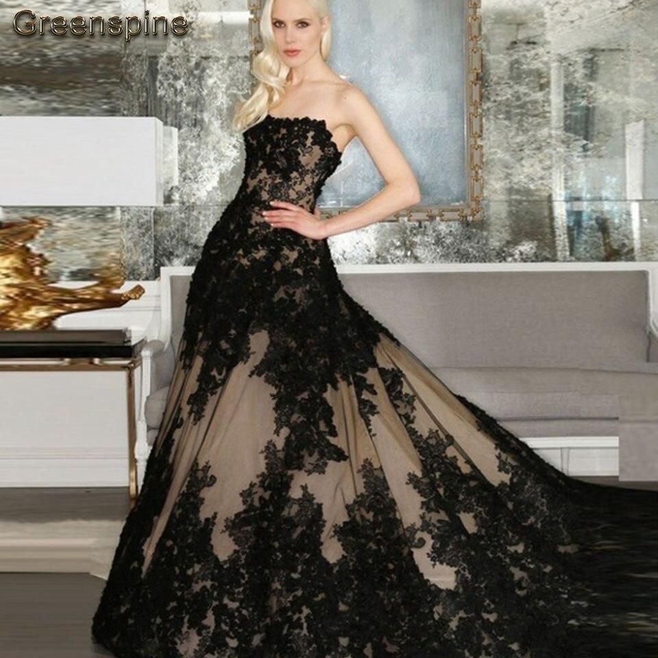 Gothic Black Wedding Dress A Line 2019 Robe De Mariee Elegant