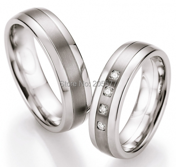 unusual unique technique handmade Titanium inlay stainless steel wedding bands couples rings pair sets his and