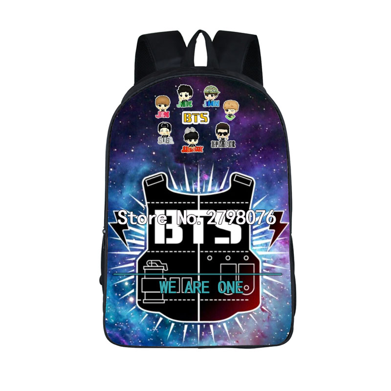 K-pop BTS Backpack for Teenagers Girls Boys EXO/BTS School bag Bulletproof Boy Scouts bookbag BTS/EXO/BAP Daily Backpack bag k pop kpop bulletproof boy scouts bts album bangtan boy korea army a limited edition ver ii concert lamp light sticks keychain