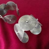 Miao individual jewelry handmade Miao silver bracelet bracelet face wide pattern nail bracelet