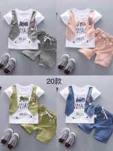 Summer Baby Girls Boys Shorts Clothes Suits Cartoon  Infant Toddler Casual Plaid T Shirt+ Pants Children Kids