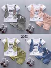 Summer Baby Girls Boys Shorts Clothes Suits Cartoon  Infant Toddler Suits Casual Plaid Shorts T Shirt+ Pants Children Kids Suits цена и фото