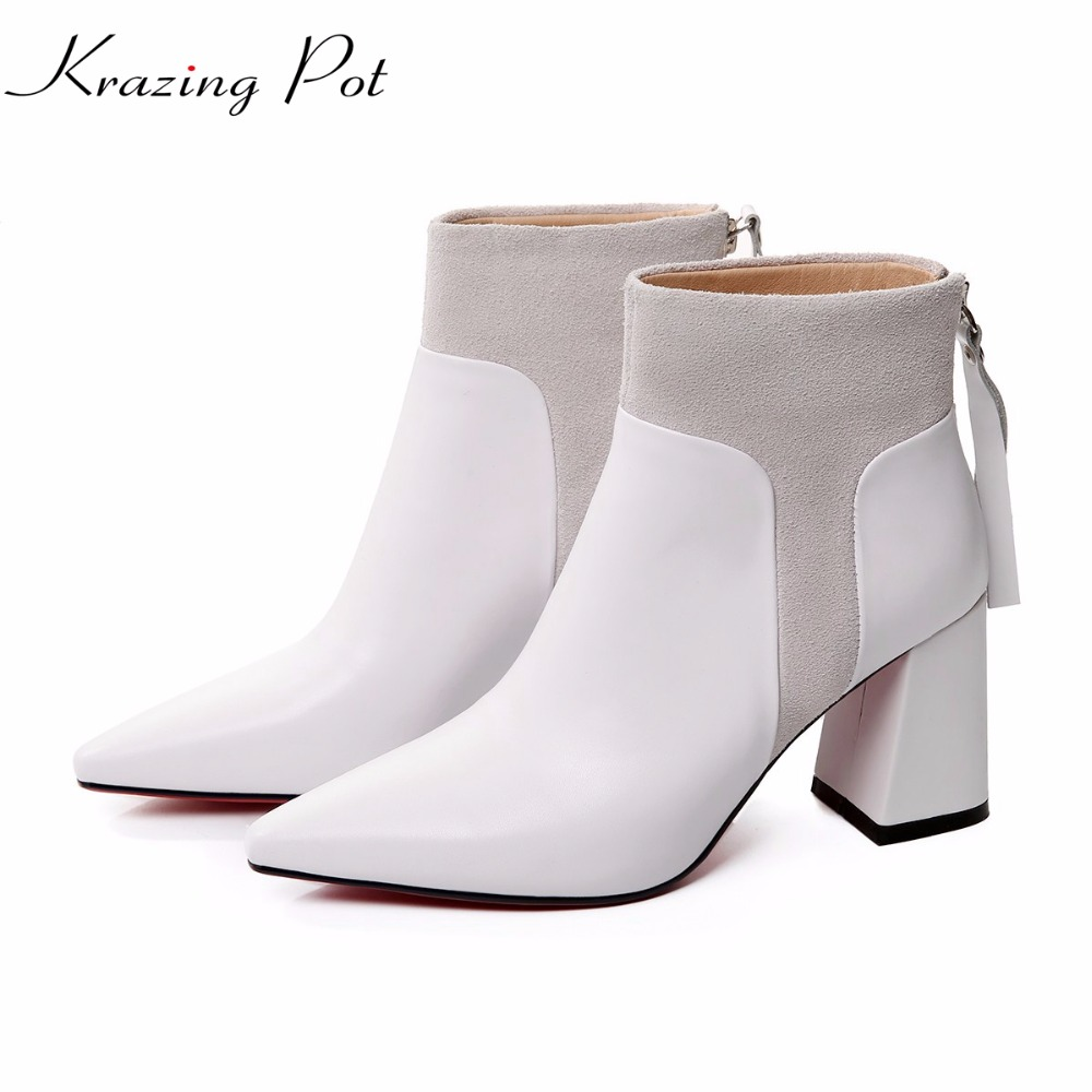 Krazing Pot 2018 full grain leather fashion autumn winter pointed toe thick high heels women office lady tassel ankle boots L04 full grain leather women thin heels elegant work ankle boots pointed toe fashion zipper lady office shoes black