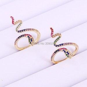 Image 3 - 6 sztuk wysokiej jakości rainbow wąż pierścień cz dla kobiet prezenty dla pań złota kolor kolorowe Cubic cyrkon trendy palec pierścień