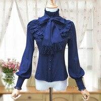 כחול שיפון ראפלס לעמוד צווארון נשים חולצה חולצות וינטג 'גותי ויקטוריאני אלגנטי חולצות Camisa Feminina כדי להתאים מחוך
