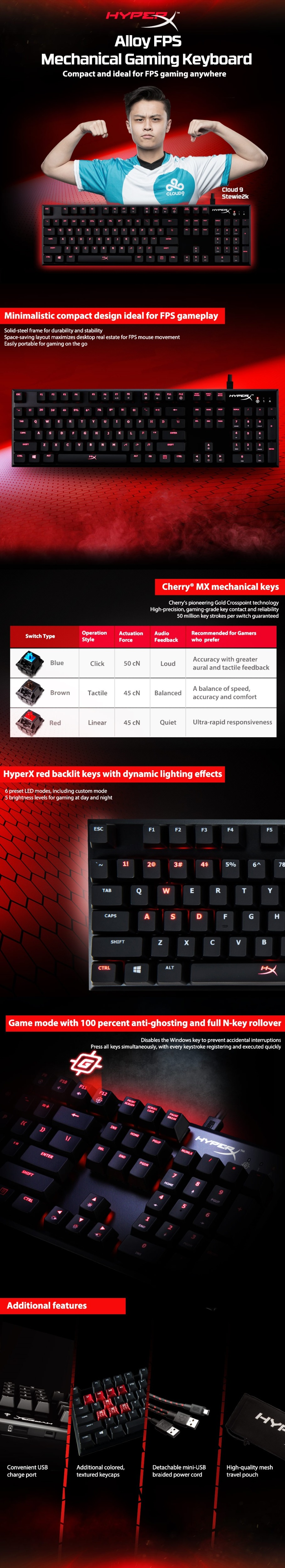 Kingston HyperX Alloy FPS E-sports Game Mechanical Keyboard Cherry Axis Red Axis Camshaft USB Wired Backlit Keyboard