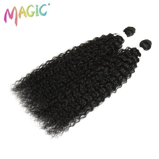 Magci-Extensions capillaires synthétiques bouclées ombré   Cheveux crépus, 22 pouces, tissage en Fiber résistante à la chaleur, 18 pouces, lot de 2 pièces de mèches, 100G