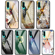 Tempered Glass Case for Huawei P10 P20 P30 Pro Mate 10 20 Lite Honor 8X 20 Pro Cover Anime Japanese attack on Titan Luxury Case стоимость