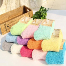 цена на Sale Coral velvet Floor Women socks Candy Color Winter Socks Coral Fleece Lined Slipper Non Slip Soft Bed Sleep Socks