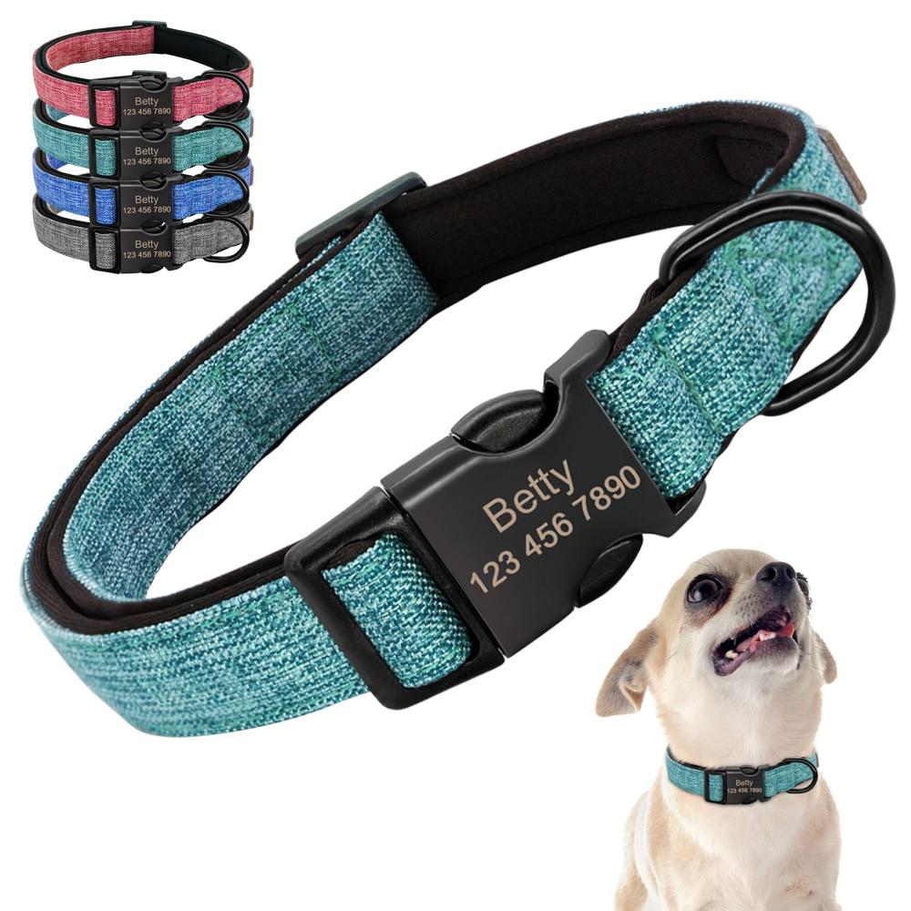 Collar Pet Dog Nylon Acolchoado Coleiras Colarinho Perro Gravado ID Personalizado Personalizado para Médio Grande Cachorro Filhote de Cachorro