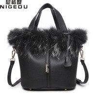 NIGEDU Brand Luxury Rabbit Fur Women Handbag Female Fashion Designer Bucket Shoulder Bags Quality PU Leather