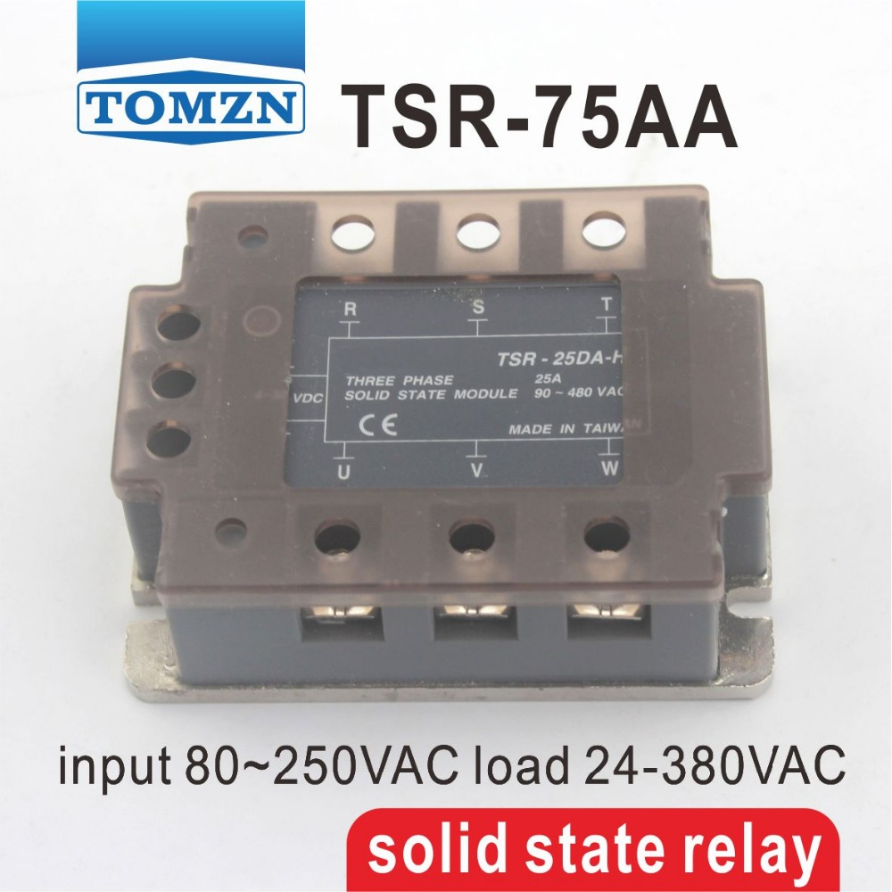 ФОТО 75AA TSR-75AA Three-phase SSR input 80~250VAC load 24-380VAC single phase AC solid state relay
