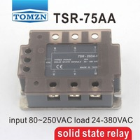 75AA TSR 75AA Three phase SSR input 80~250VAC load 24 380VAC single phase AC solid state relay