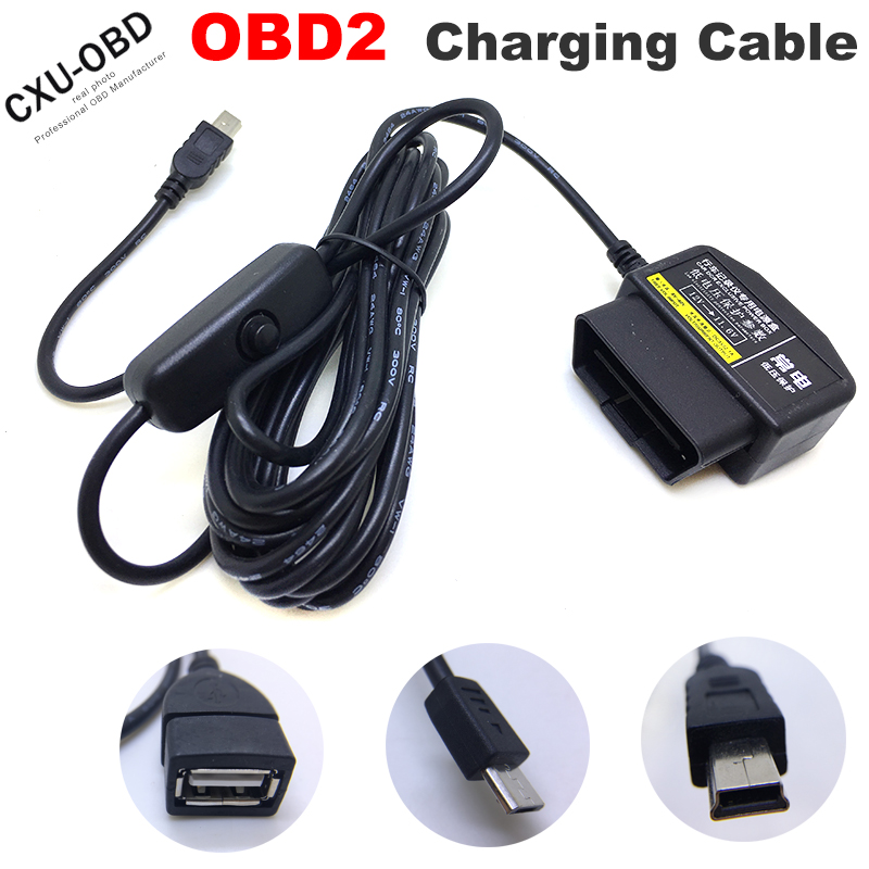 OBDII Charging Cable Micro USB or Mini USB or USB Female <font><b>Power</b></font> <font><b>Adapter</b></font> 16Pin OBD2 Connector Direct <font><b>Charger</b></font> Cable with switch