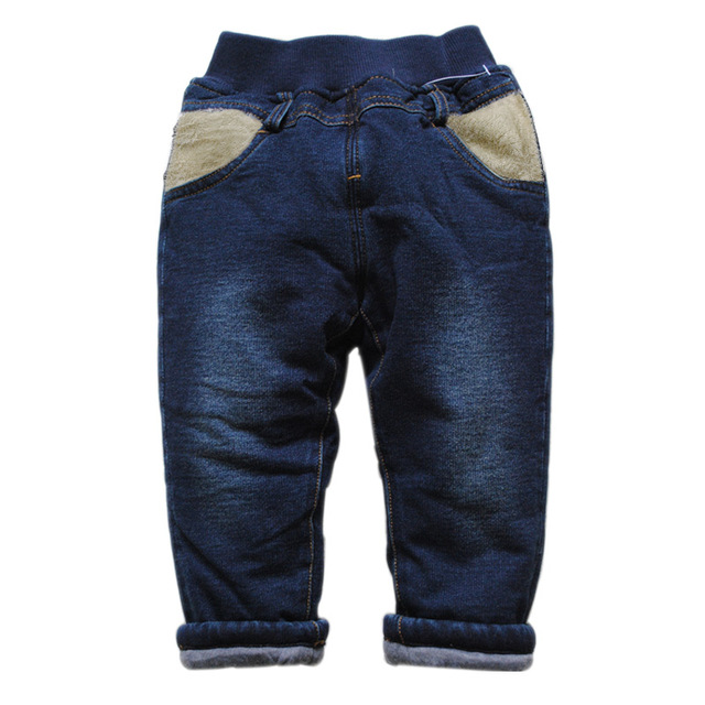 6202 зимние детские джинсы хлопка мягкой добавить теплые двухэтажных темно-синий мальчик и девушки брюки толстые брюки мода новый