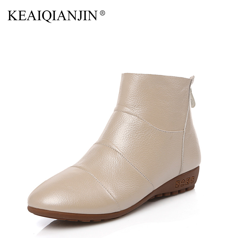 KEAIQIANJIN Woman Genuine Leather Flat Boots Plus Size 33 - 44 Black Pink White Ankle Boots Zipper Oxford Autumn Winter Shoes keaiqianjin woman studded snow boots pink black winter genuine leather flat shoes flower platform fur crystal ankle boot 2017