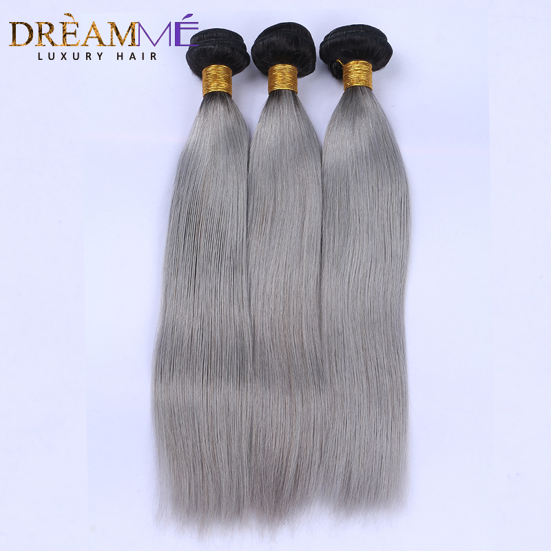1B Grey Straight Human Hair 3 Bundles Ombre Brazilian Human Hair Weave Gray Ombre Hair Extensions