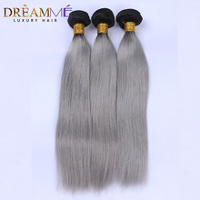 1B/ Grey Straight Human Hair 3 Bundles Ombre Brazilian Human Hair Weave Gray Ombre Hair Extensions Remy Dream me Hair(China)