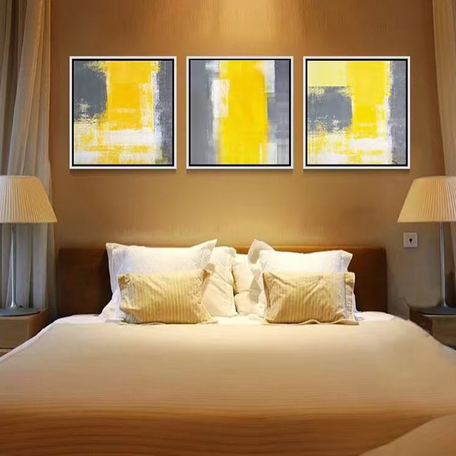 Wholesale Handmade Modern Simple Abstract 3PCS Oil Painting Yellow ...