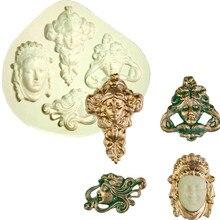 Vintage Art Nouveau Faces Formas De Silicone Mold Fondant Cake Molds Cupcake Mould Chocolate Kitchen Accessories
