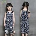 Estilo nacional Ropa de Verano de los Bebés del Patrón Elefante Traje de la Honda Tops + Pants Mitad 2-7Y Kids Girls Thin Estilo de Vestir conjunto