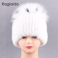 Raglaido Venta caliente mujeres real Mink sombrero de piel de invierno de punto moda de piel pompom skullies ruso gorras de nieve 55- 60 cm LQ11213