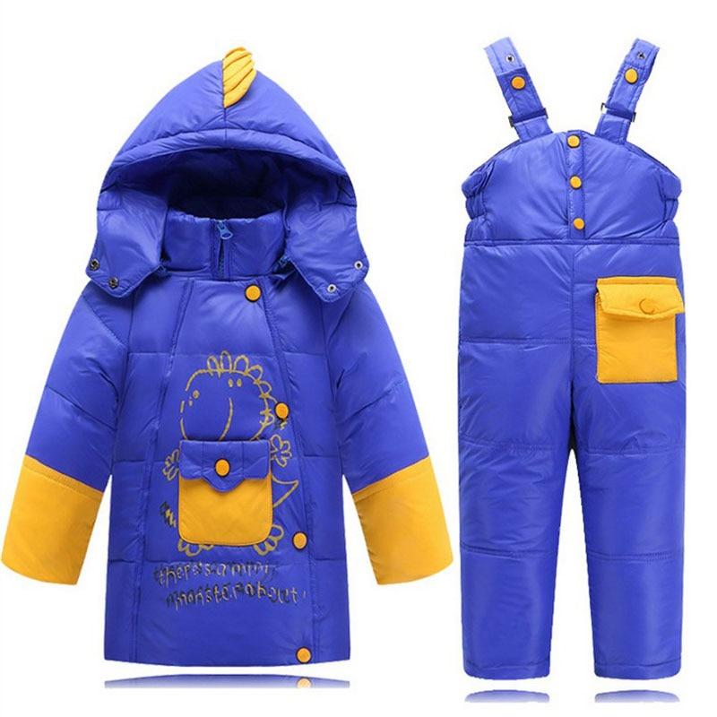 suit set children boy baby girl clothes winter Jacket Overalls Parkas Duck Down thick Coat Pants
