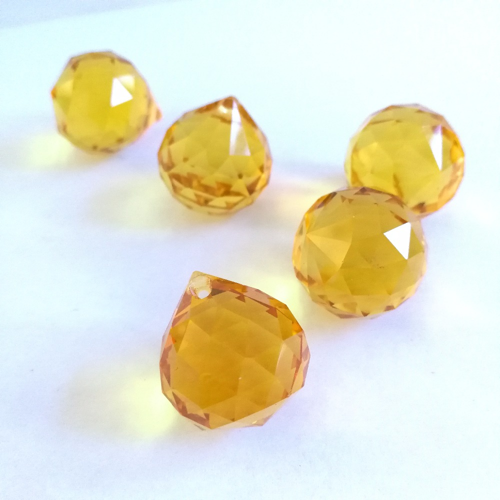 Topaz 20mm 30pcs Crystal Ball Glass Lighting Hanging Balll Glass Chandelier Prism Ball For Home & Garden,Party Decoration