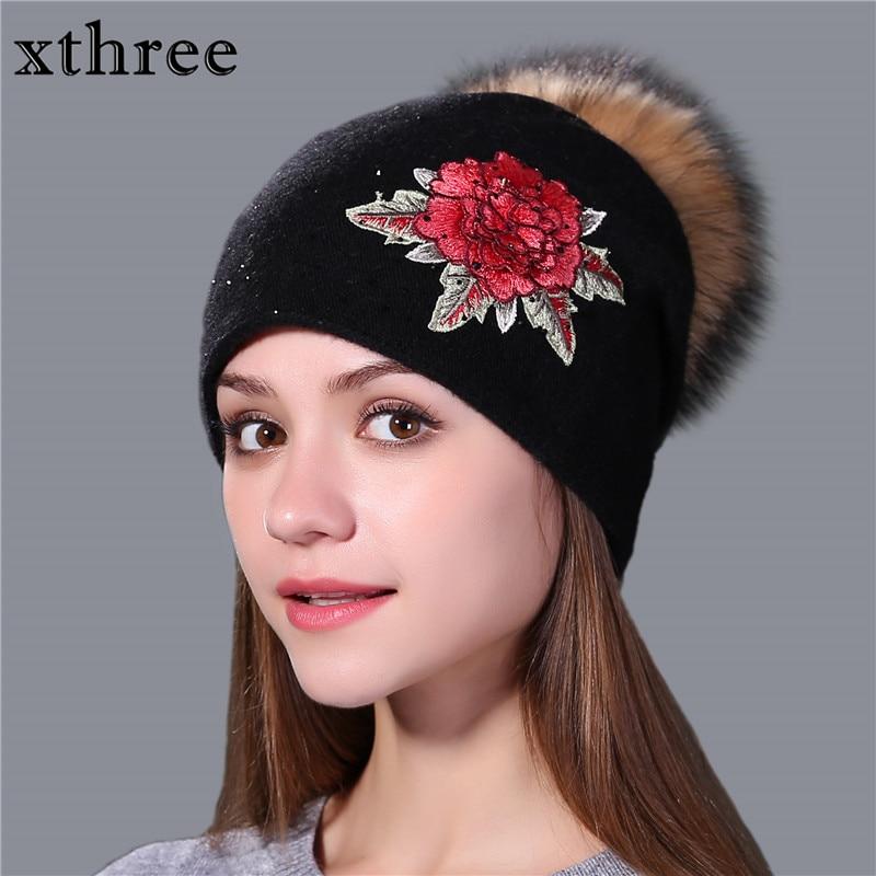 Xthree vinterhatt för kvinnor ull stickad hatt Kvinna mössa broderi äkta mink päls pom pom flicka Skullie hatt