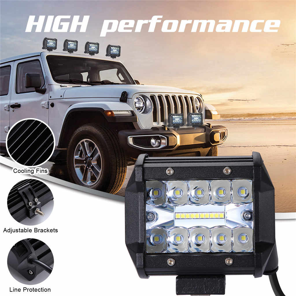 New 4Inch 200W 3 Rows LED Work Light Bar Pods Flush Mount Combo Driving Lamp 12V 6000K 20000LM For Driving Offroad Boat Car