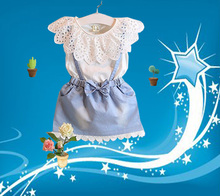 Girls clothes 2017 summer new girls dress 3-7 years old girl sweet little fashion princess skirt hot sale