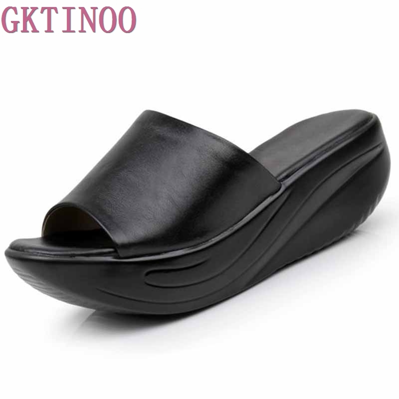 New 2018 Summer flip flops women Platform Sandals Women's Wedges genuine leather open toe Shoes Slippers plus size free shipping