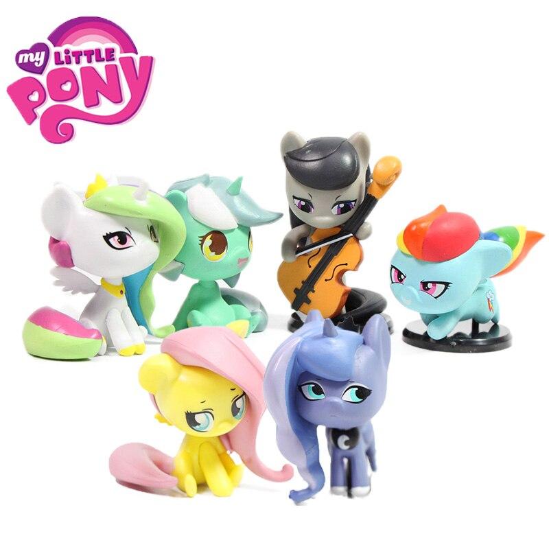 6pcs Q Version My Little Pony Toys Princess Luna Rarity Applejack Octavia Melody Fluttershy Silver Spoon Figures Doll