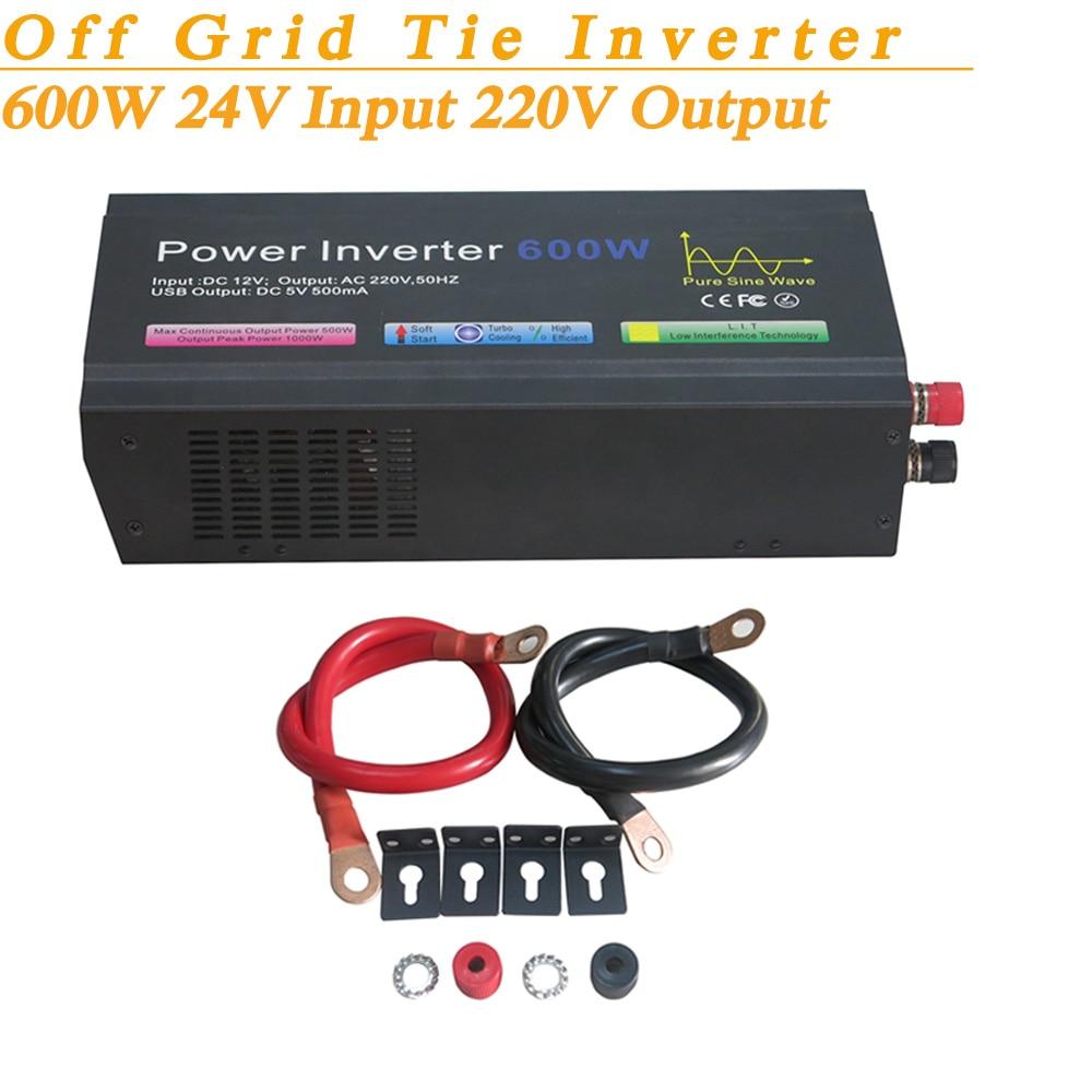 Full Power 600W Solar Inverter Off Grid Pure Sine Wave DC24V Input 220V Output Soft Start High Conversion Efficiency with USB 5V