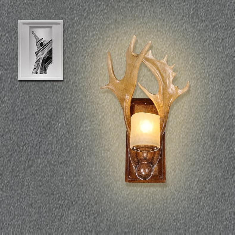 Antique Wall Lamp Living Room, American Country Deer Antler Lamp Aisle Bedroom Bedside Lamp