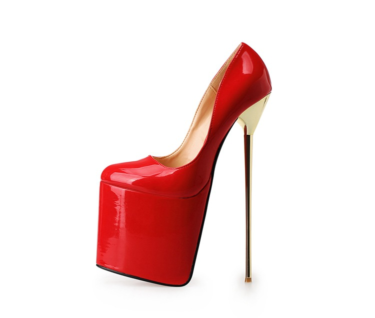 Extreme High Heels 22cm Women Pumps PU Leather Pointed Dress Wedding Shoes Metal Heels Black Red Nude Platform Pumps Big Size 50 top brand women fashion open toe platform patent leather pumps red nude black formal dress high heels shoes big size 35 46