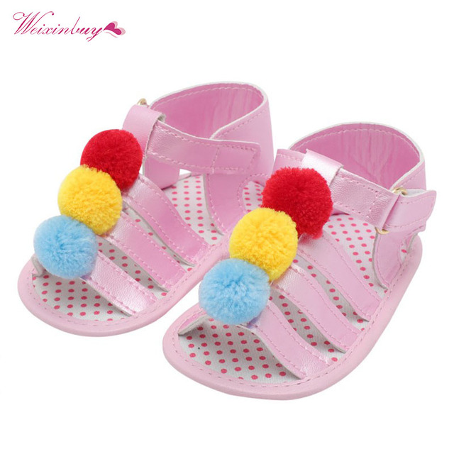 32f3fce7eddc1 US $2.96 28% OFF|Aliexpress.com : Buy Fashion PU Baby Infant Girls Flower  Ball Charm Princess Sandals Soft Sole Prewalker Crib Shoes Colorful Toddler  ...