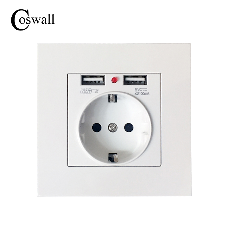 Coswall 2017 Best Dual USB Port 2.1A Wall Charger Adapter EU Plug Socket Power Outlet Panel