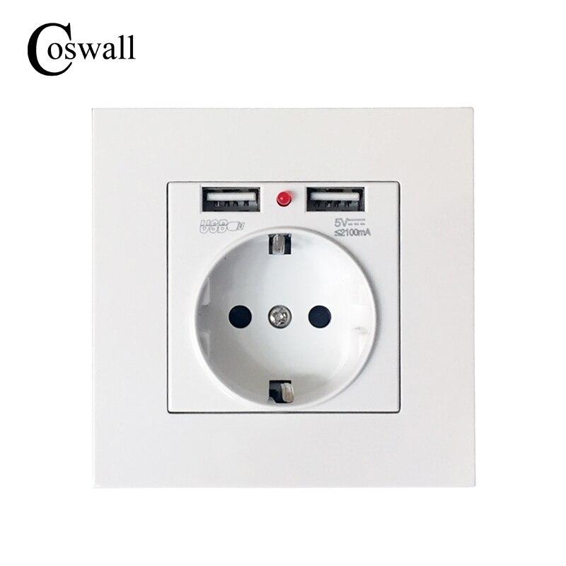 Coswall 2017 Beste Dual USB Port 2.1A Wand Ladegerät Adapter EU Stecker Buchse Power Outlet Panel