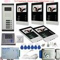 5 квартиры домашняя Безопасность видеодомофон 5 клавиш наружный блок + электронный замок + контроль доступа идентификационная карта Пароль ...