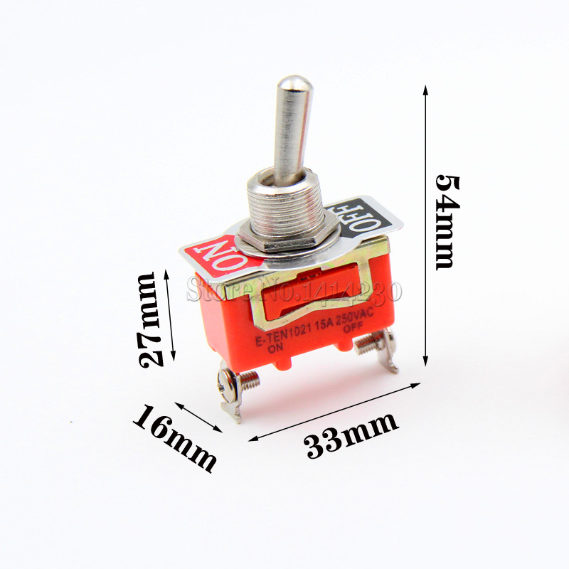 10Pcs E-TEN1021 15A 250V AC 2PIN ON-OFF 12mm Toggle Switch Rocker Switch Power 10x on line on off switch lamp light switch button mid way rocker switch mains power switch 2a 250v for 2 3 core cable hy678 10
