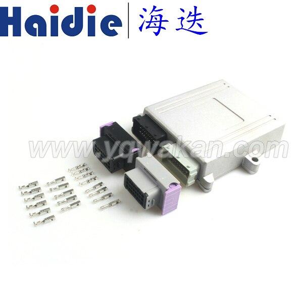 Free shipping 1set 24pin/48pin ECU SET ECU shell plug car on-board controller panel circuit board connector with Aluminum box