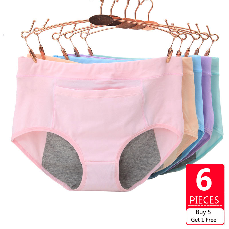 Feilibin 6Pcs/lot Leak Proof Menstrual Period   Panties   Women Underwear Physiological Pants Healthy Cotton Seamless Ladies   Panties