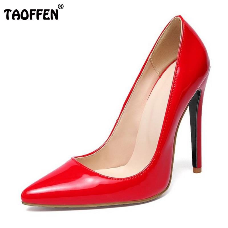 TAOFFEN big size 34-46 brand ladies 12cm thin high heel shoes sexy women party pumps fashion pointed toe footwear shoes P22546 taoffen women high heels shoes women thin heeled pumps round toe shoes women platform weeding party sexy footwear size 34 39
