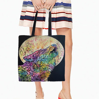Wolf Owl Designs Tote Bags Double Sided Printing Canvas Different Animals Pattern Open Pocket Bag Shopping