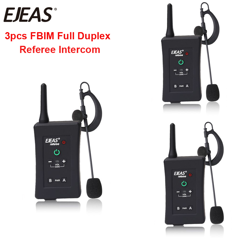 3pcs Latest EJEAS Brand FBIM Football Soccer Referee Motorcycle Bluetooth Intercom Full Duplex BT Referee Headset with FM Radio