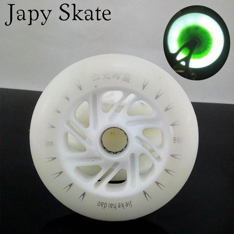 Jus japy Skate LED Flash Vitesse des Roues De Skate 6 pcs/lot 100% D'origine 86A 125mm Blanc Vitesse De Patinage Roues LED Lumière livraison Gratuite