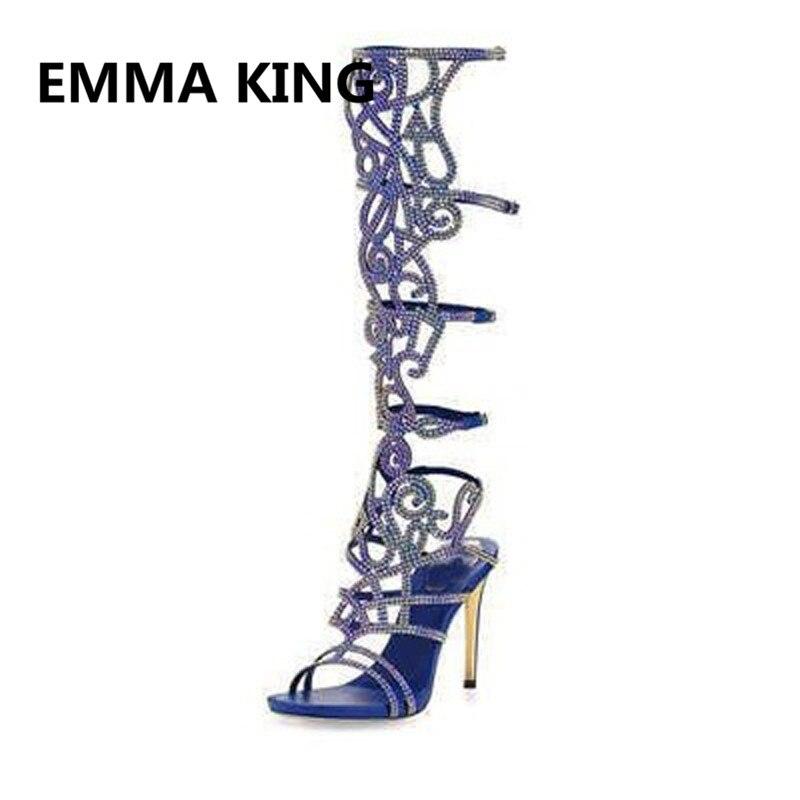 Luxo de Cristal Cheio de Mulheres de Verão Na Altura Do Joelho Alta Gladiador Sandálias de Dedo Aberto Recorte Sexy sapatos de Salto Alto Sandálias Das Senhoras Sapatos Da Moda Mulher - 3